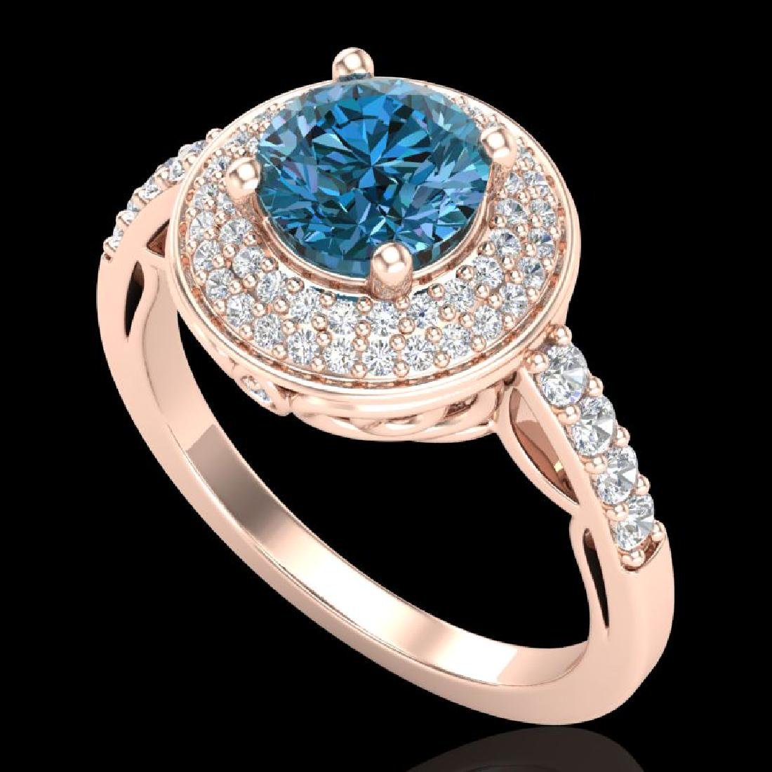 1.7 CTW Intense Blue Diamond Solitaire Engagement Art