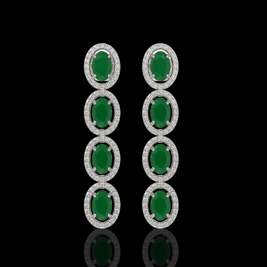 6.47 CTW Emerald & Diamond Halo Earrings 10K White Gold
