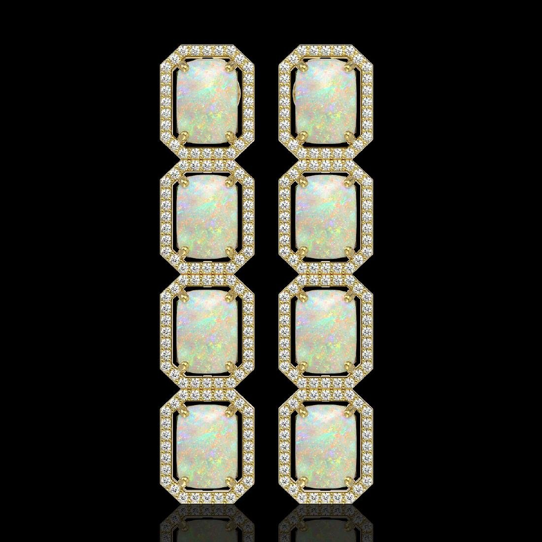 12.99 CTW Opal & Diamond Halo Earrings 10K Yellow Gold