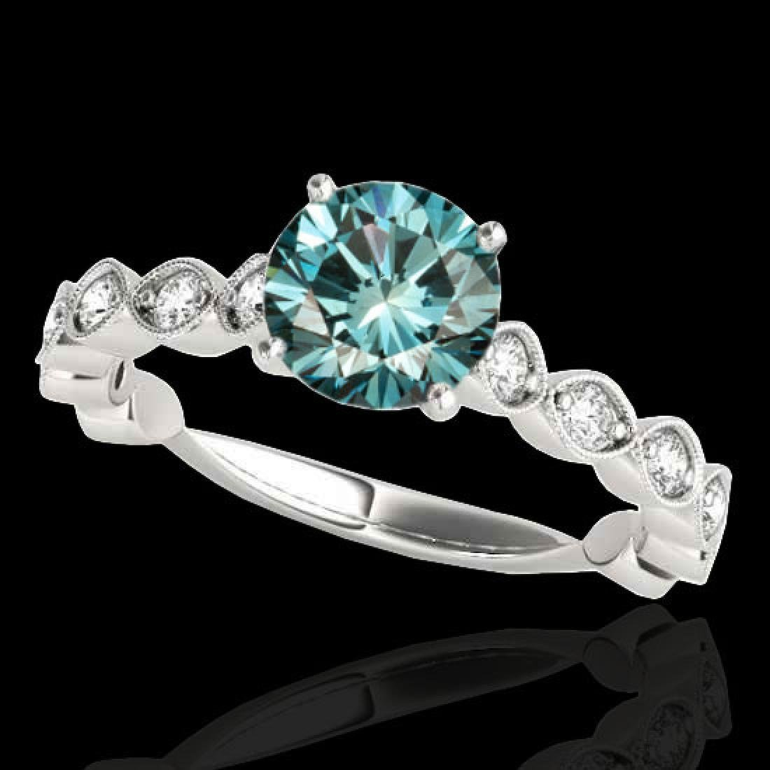 1.75 CTW SI Certified Fancy Blue Diamond Solitaire Ring