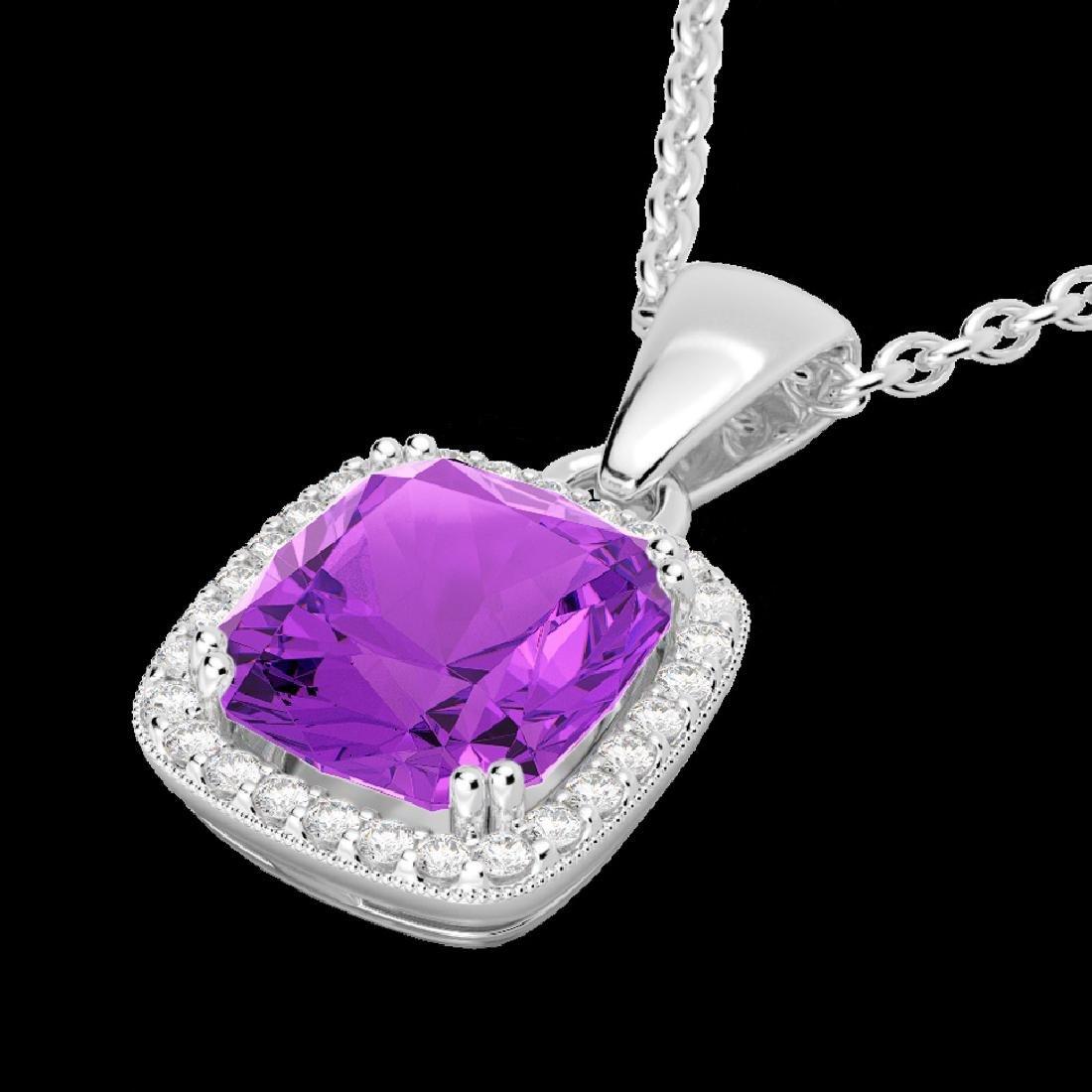 3 CTW Amethyst & Micro VS/SI Diamond Pave Halo Necklace