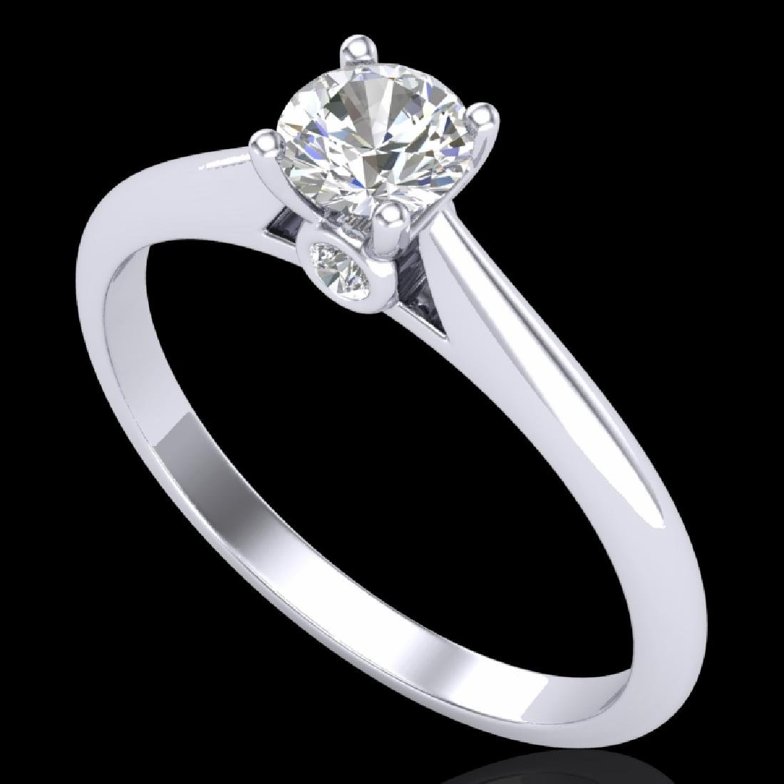 0.4 CTW VS/SI Diamond Solitaire Art Deco Ring 18K White