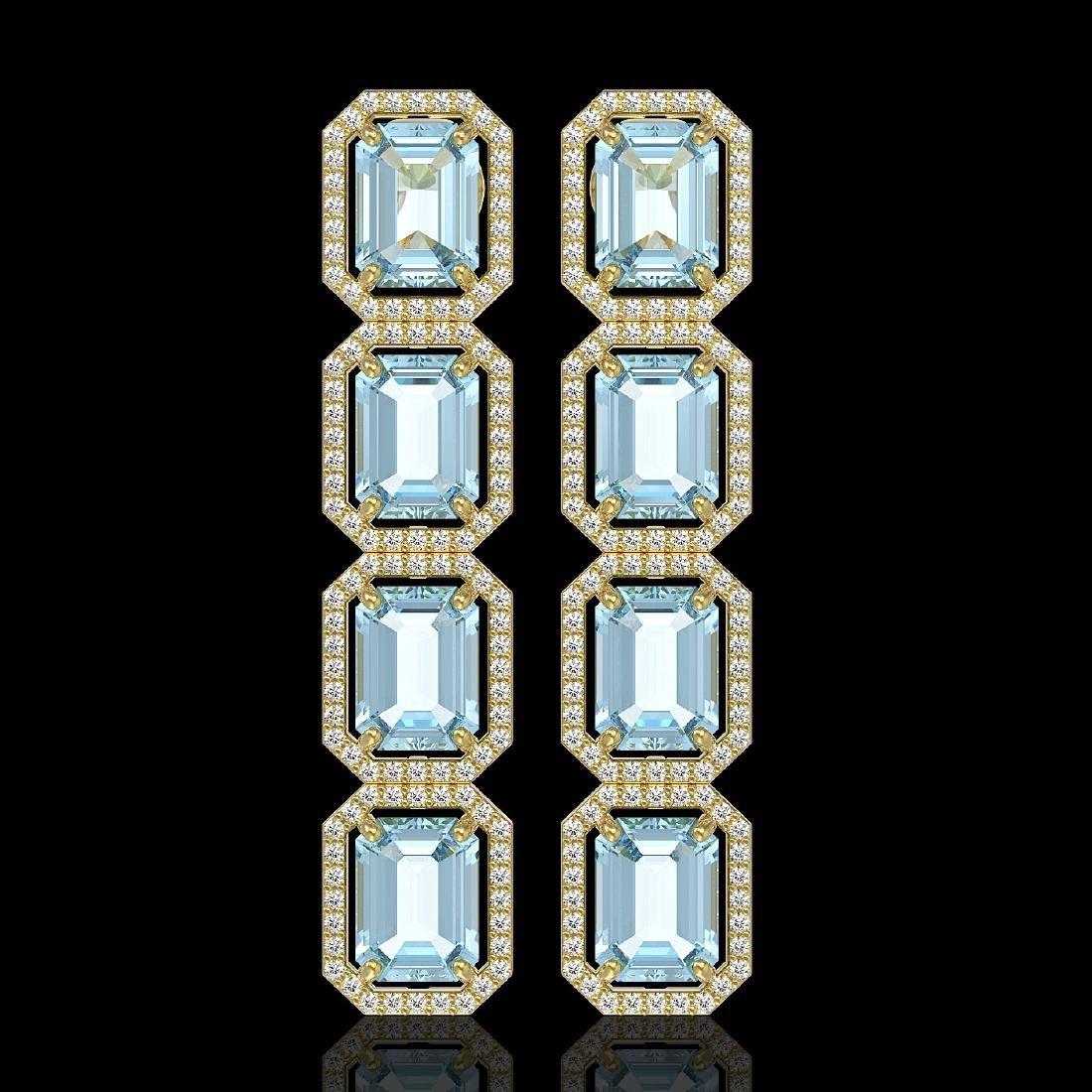 18.99 CTW Sky Topaz & Diamond Halo Earrings 10K Yellow
