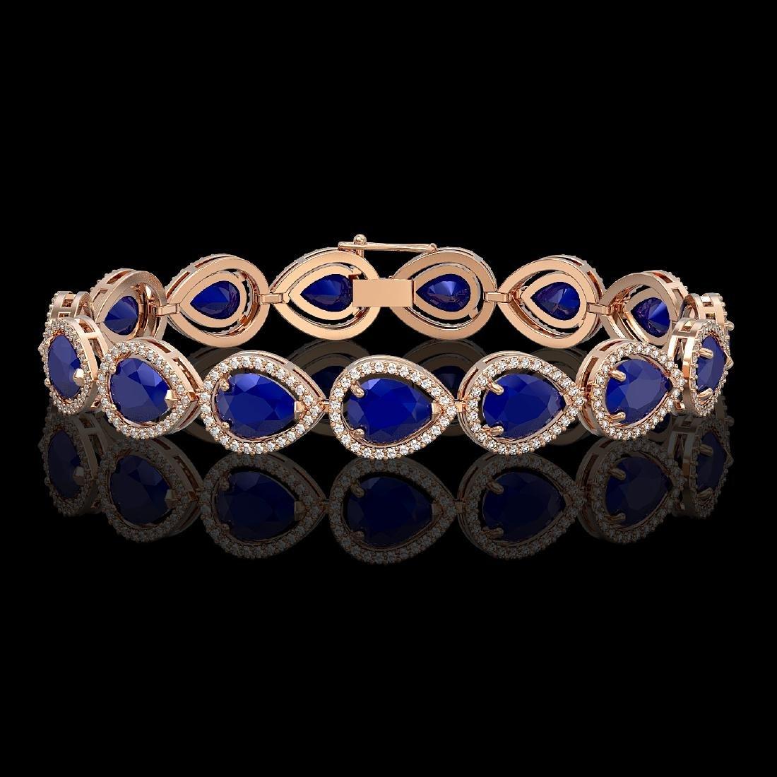 30.06 CTW Sapphire & Diamond Halo Bracelet 10K Rose
