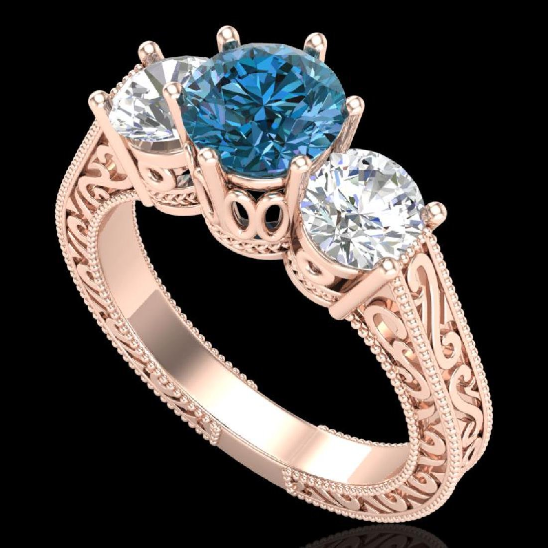 2.01 CTW Fancy Intense Blue Diamond Art Deco 3 Stone