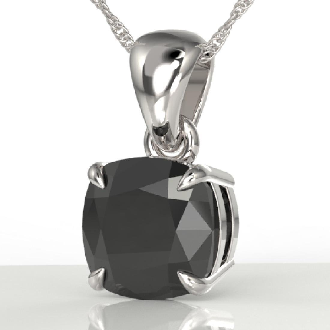 3 CTW Cushion Cut Black VS/SI Diamond Designer Necklace