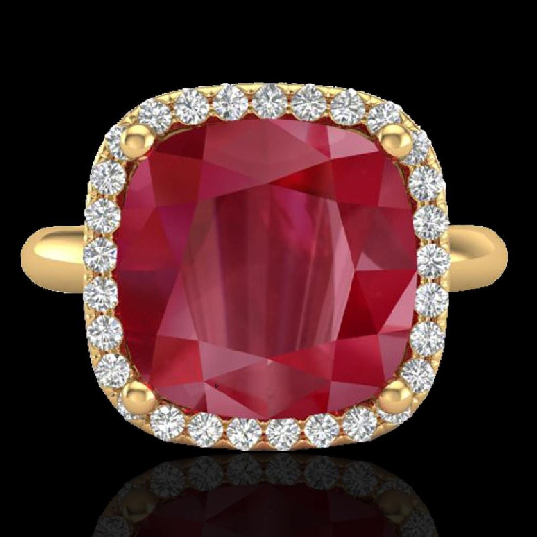 6 CTW Ruby & Micro Pave Halo VS/SI Diamond Ring 18K