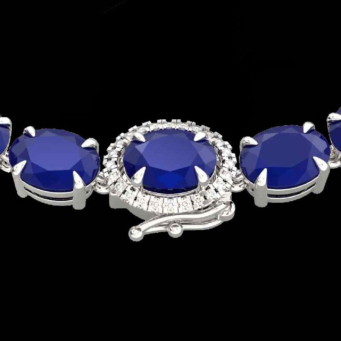 92 CTW Sapphire & VS/SI Diamond Tennis Micro Pave Halo