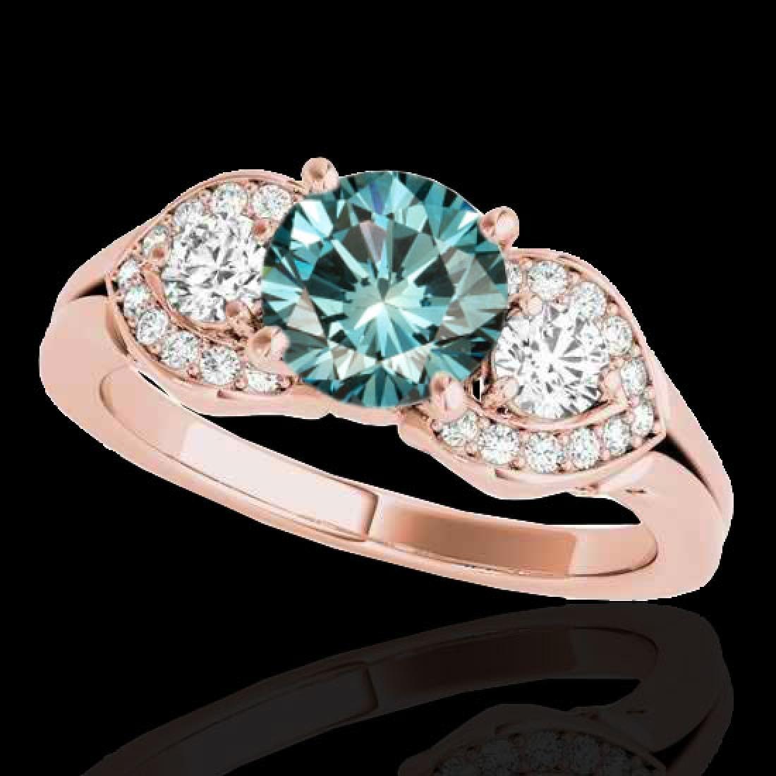 1.7 CTW SI Certified Fancy Blue Diamond 3 Stone
