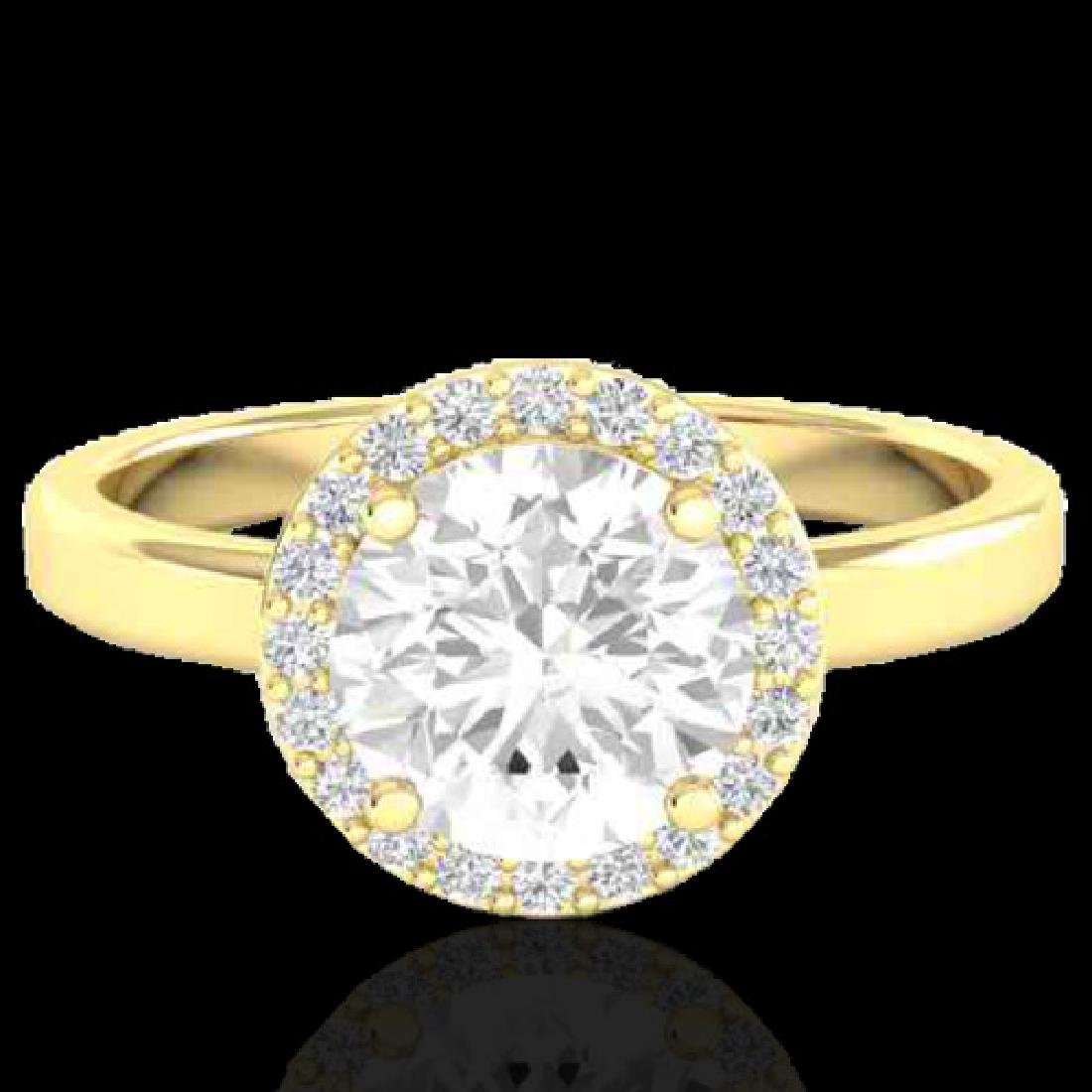 1.75 CTW Halo VS/SI Diamond Micro Pave Ring Solitaire