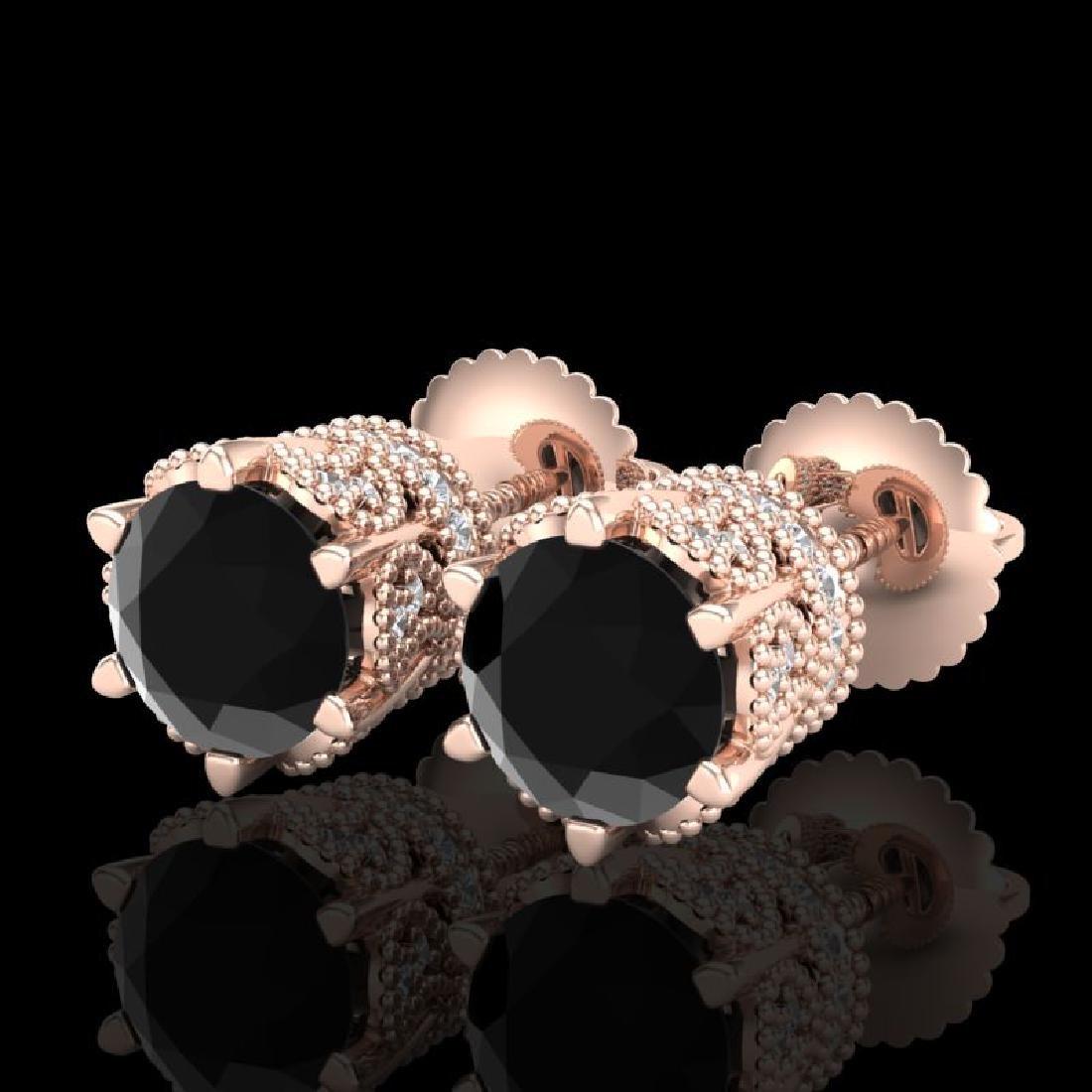 2.04 CTW Fancy Black Diamond Solitaire Art Deco Stud