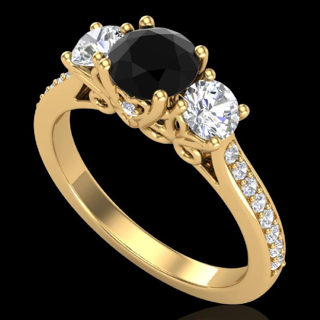 1.67 CTW Fancy Black Diamond Solitaire Art Deco 3 Stone