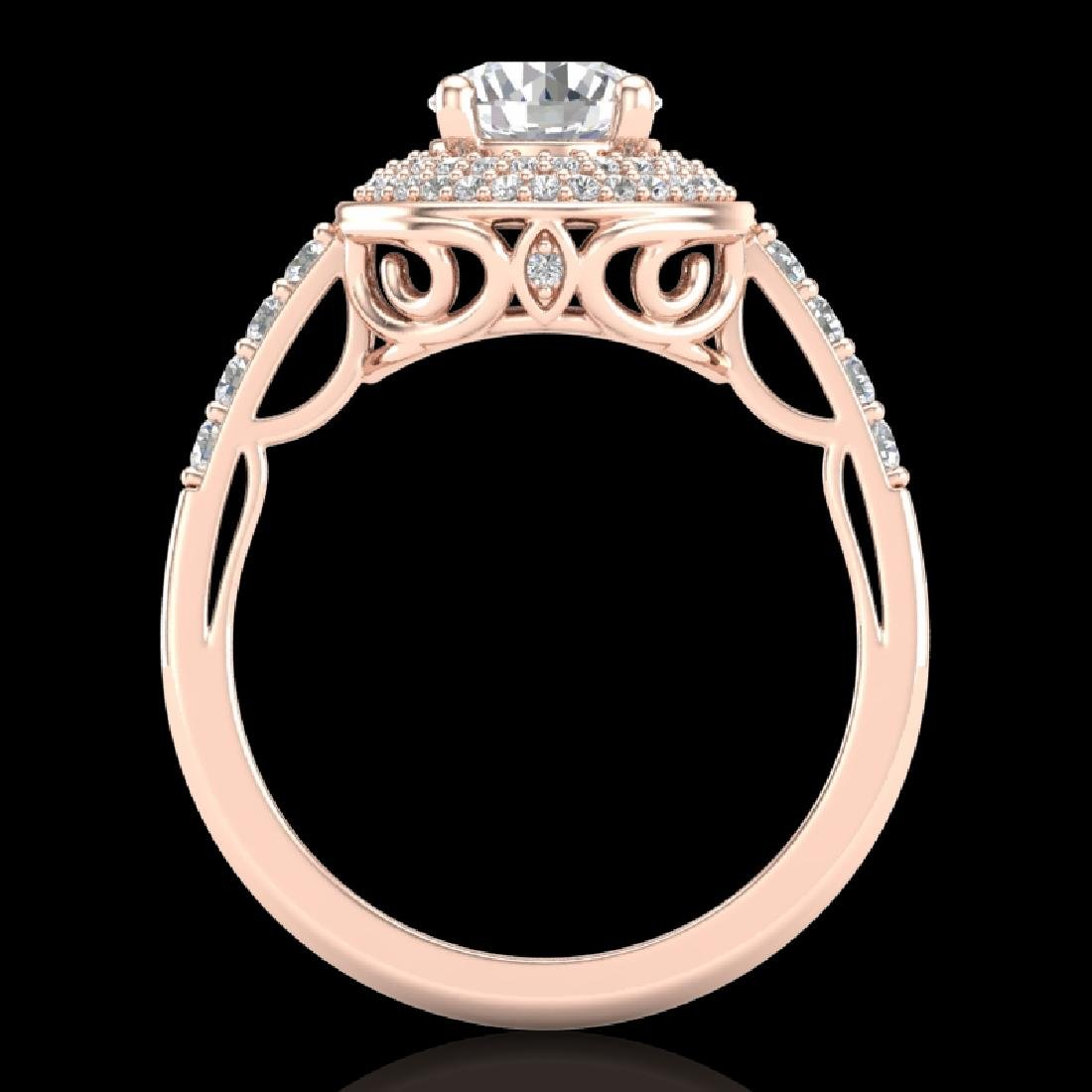 1.7 CTW VS/SI Diamond Solitaire Art Deco Ring 18K Rose