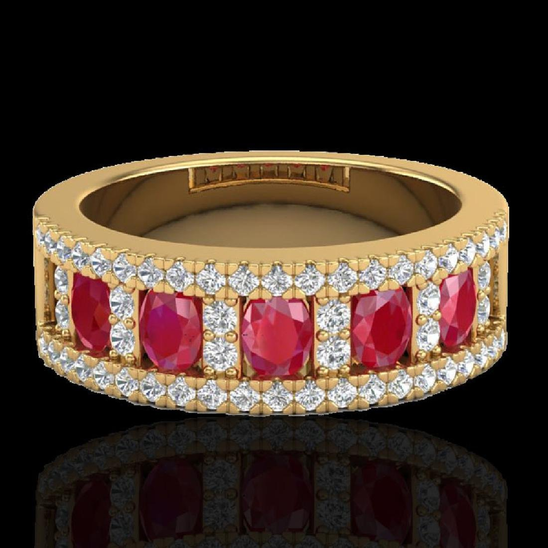 2.34 CTW Ruby & Micro Pave VS/SI Diamond Designer