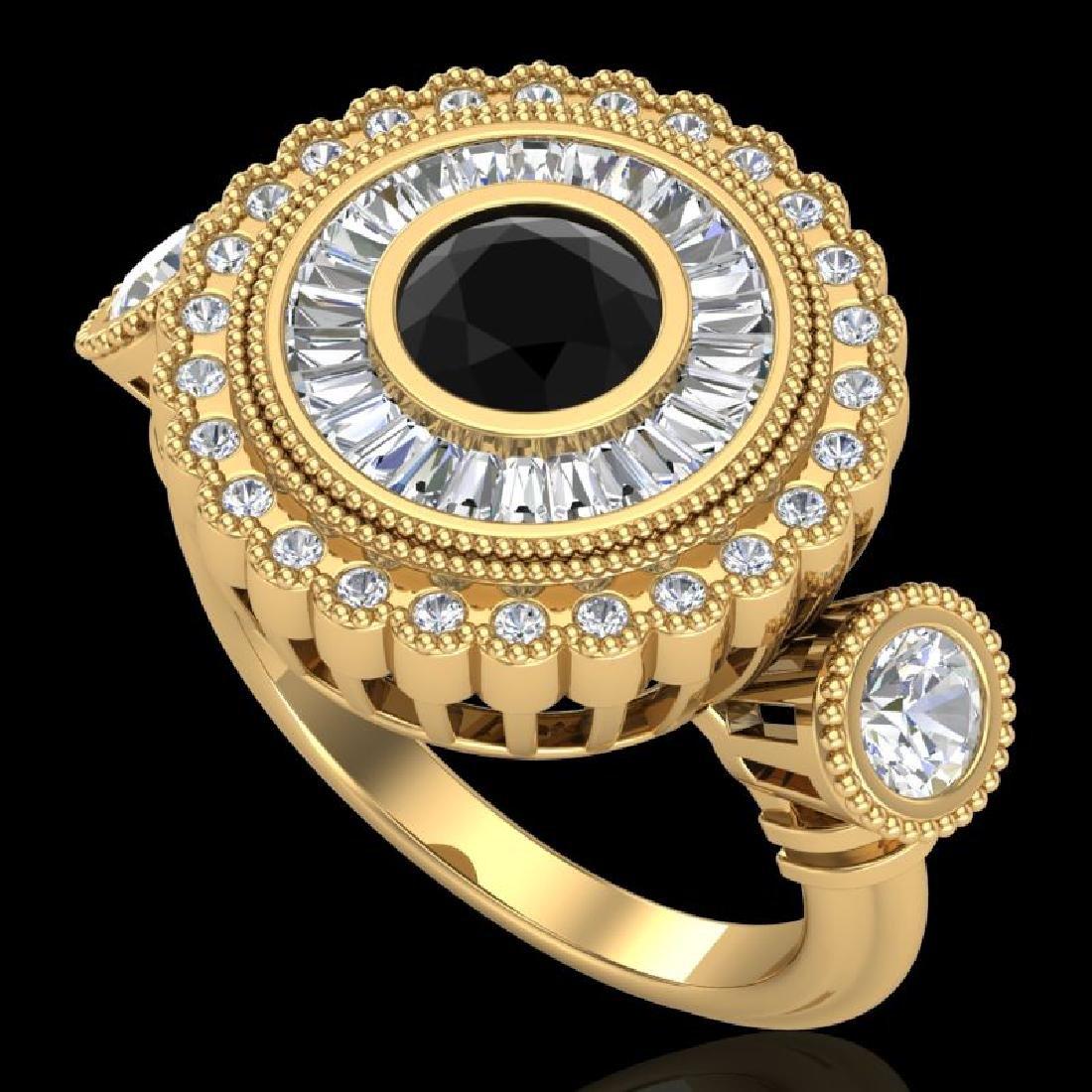 2.62 CTW Fancy Black Diamond Solitaire Art Deco 3 Stone