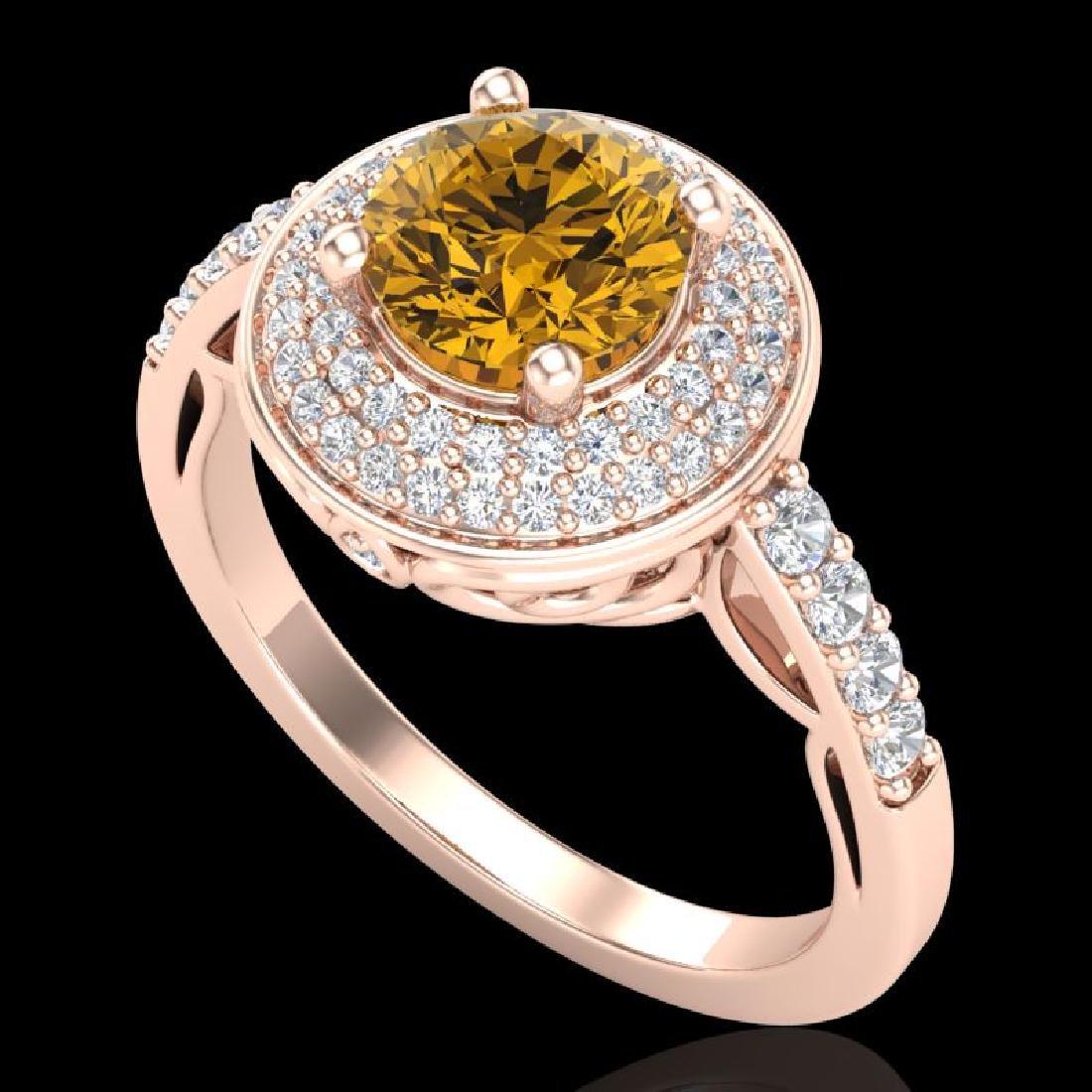 1.7 CTW Intense Fancy Yellow Diamond Engagement Art
