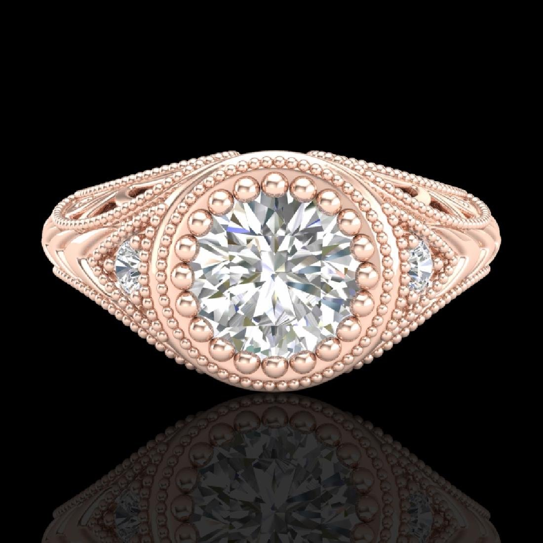 1.07 CTW VS/SI Diamond Solitaire Art Deco Ring 18K Rose