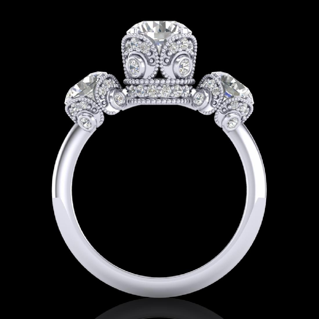 3 CTW VS/SI Diamond Solitaire Art Deco 3 Stone Ring 18K