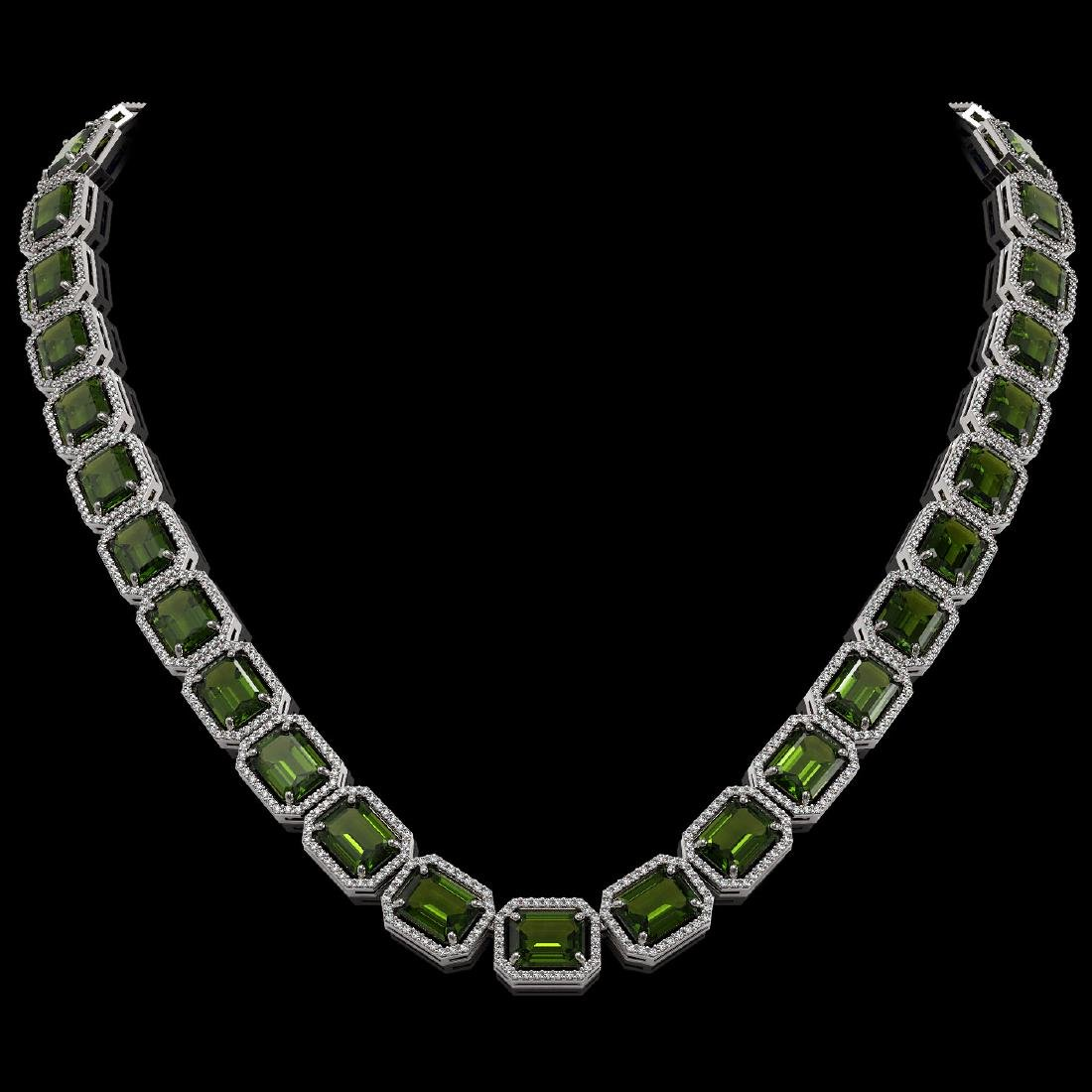 80.65 CTW Tourmaline & Diamond Halo Necklace 10K White