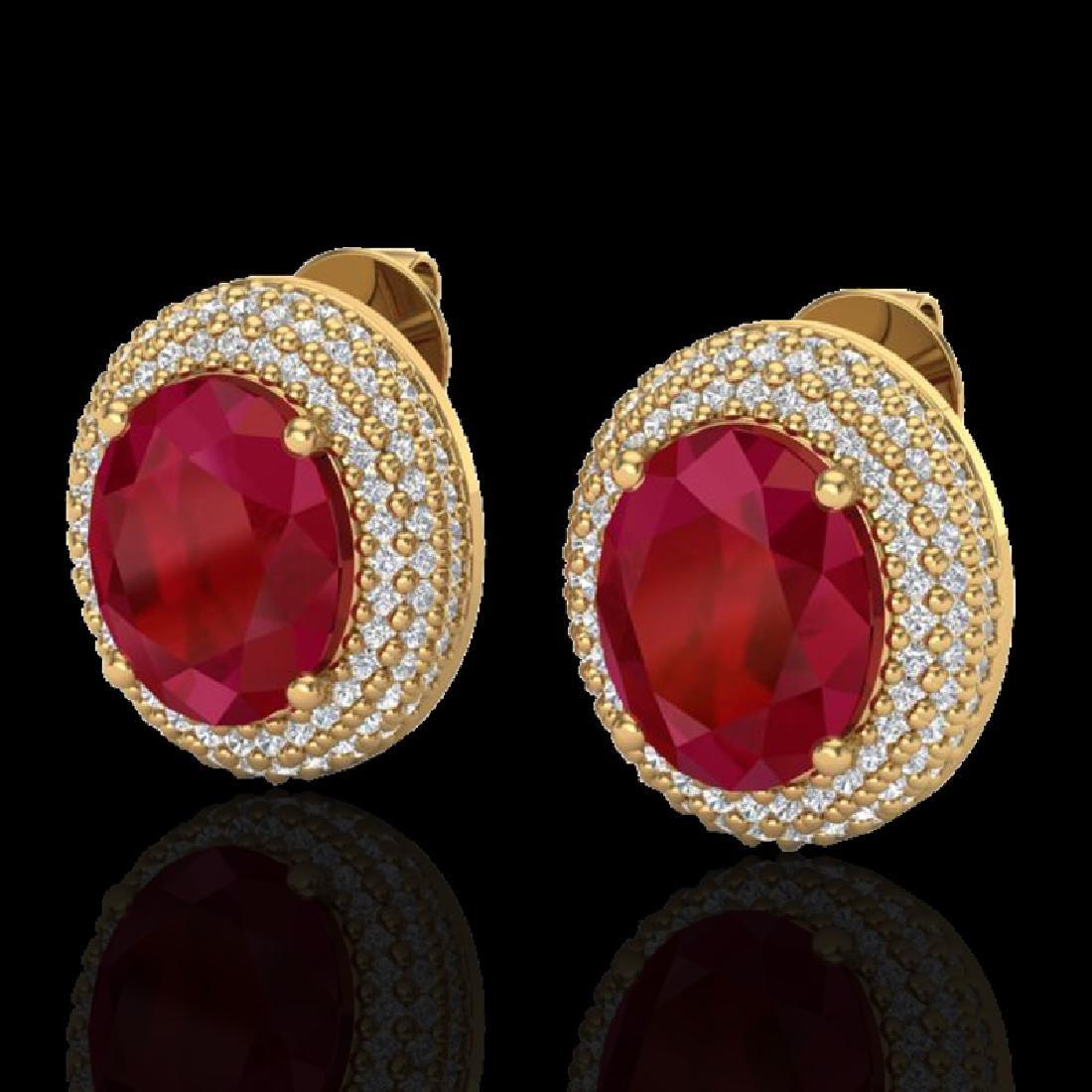 9.20 CTW Ruby & Micro Pave VS/SI Diamond Earrings 18K