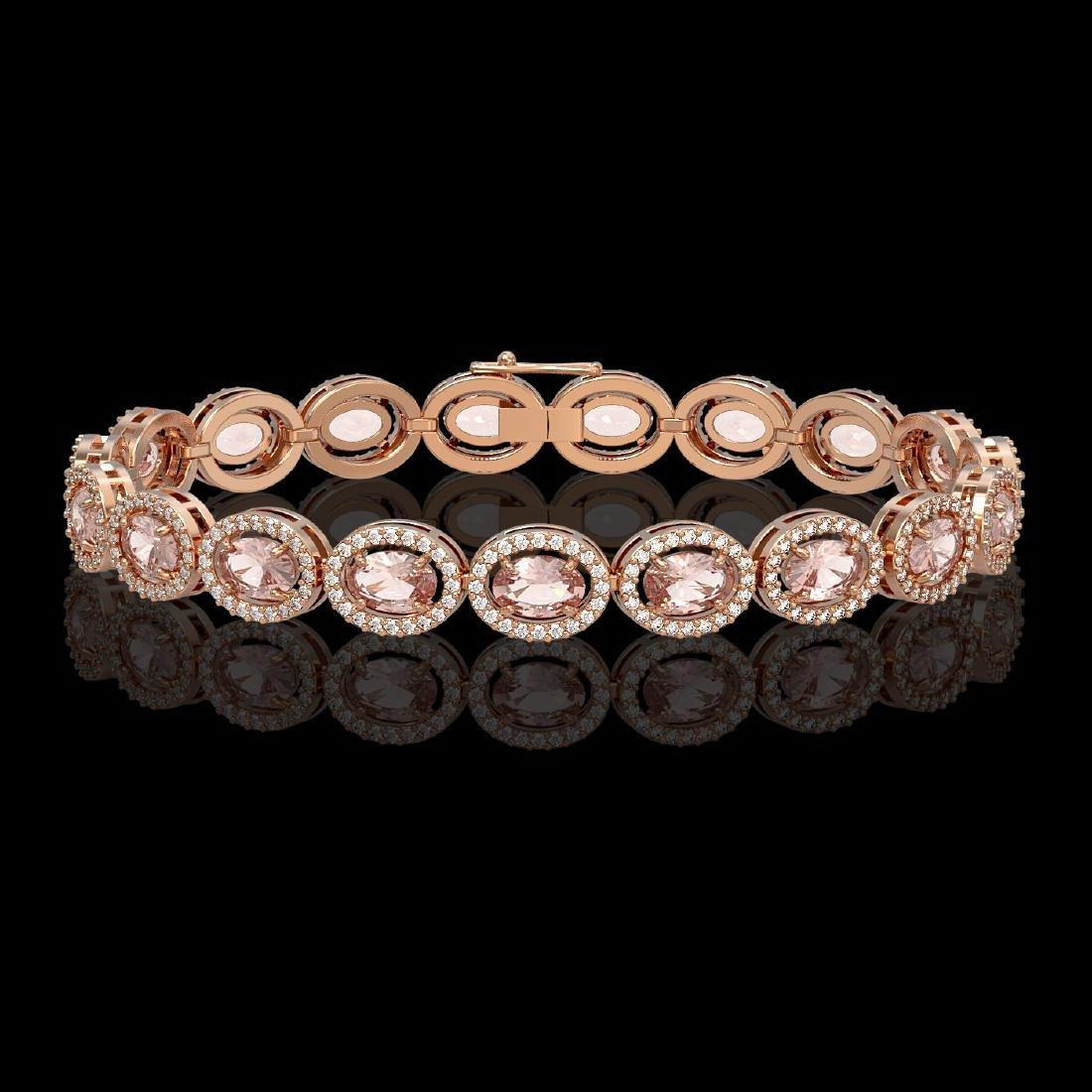 14.25 CTW Morganite & Diamond Halo Bracelet 10K Rose
