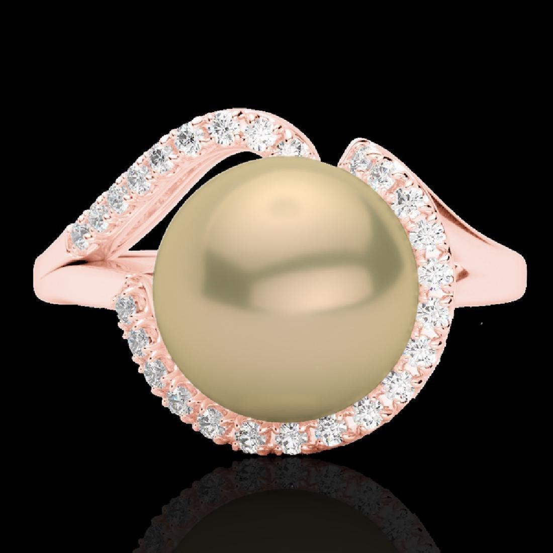 0.27 CTW VS/SI Diamond & Golden Pearl Designer Ring 14K