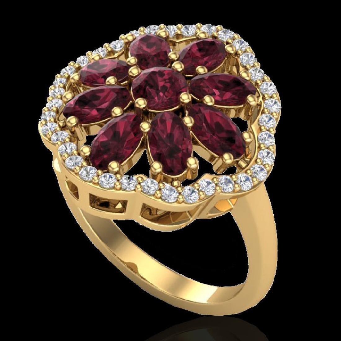 3 CTW Garnet & VS/SI Diamond Cluster Designer Halo Ring