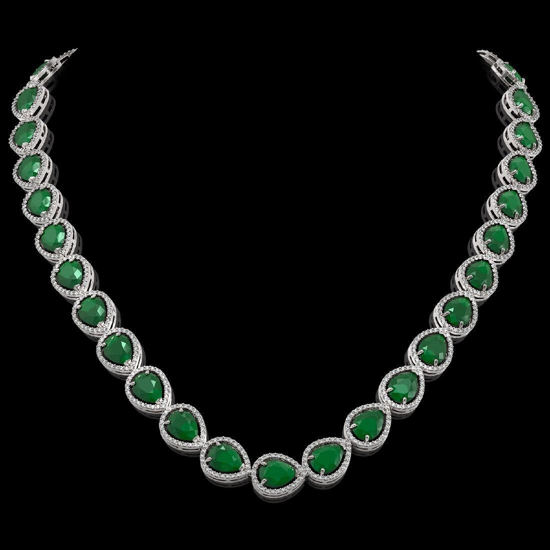 64.01 CTW Emerald & Diamond Halo Necklace 10K White