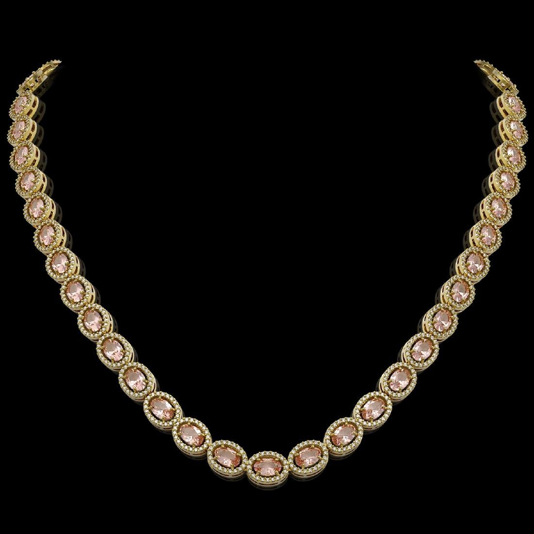 31.96 CTW Morganite & Diamond Halo Necklace 10K Yellow
