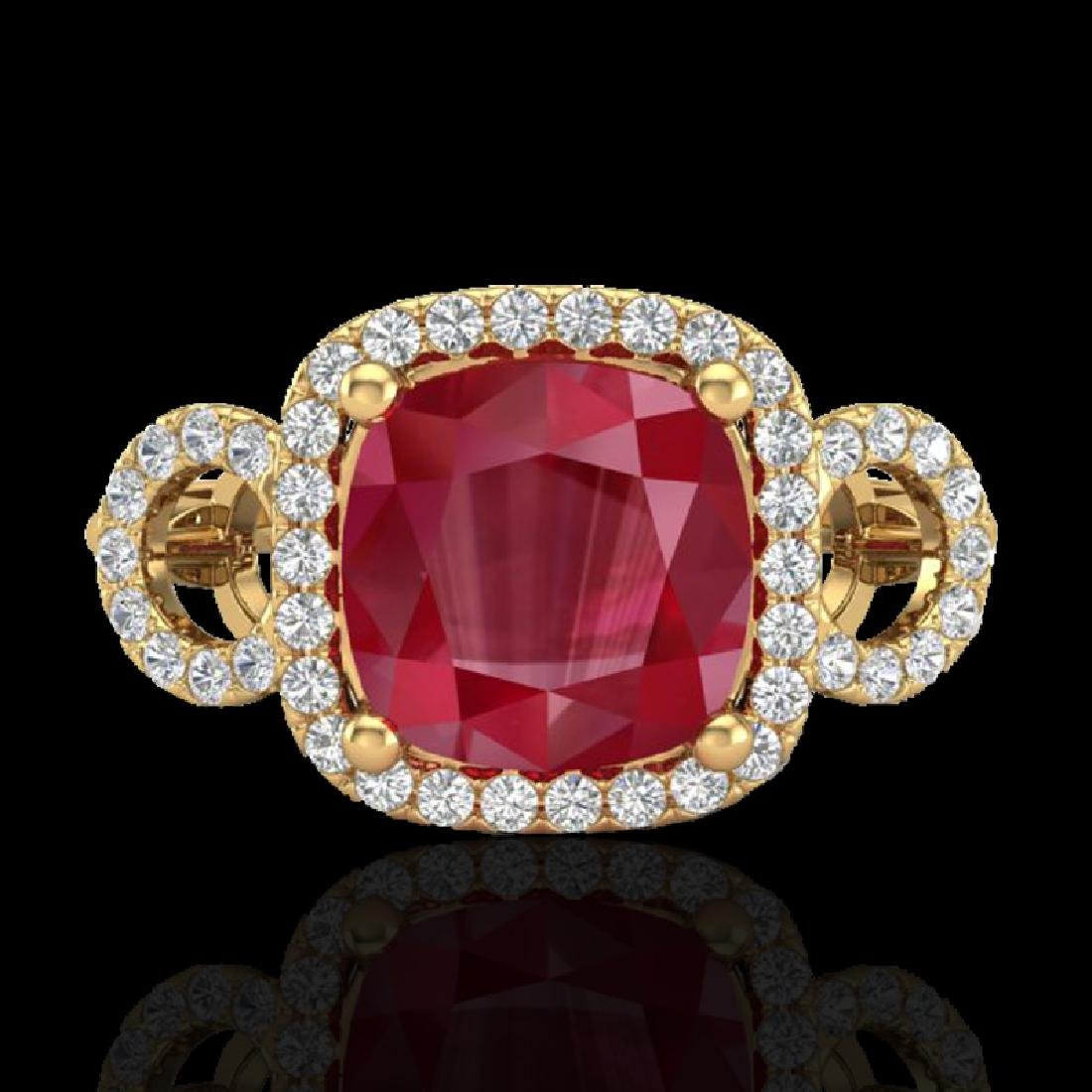 3.15 CTW Ruby & Micro VS/SI Diamond Ring 18K Yellow