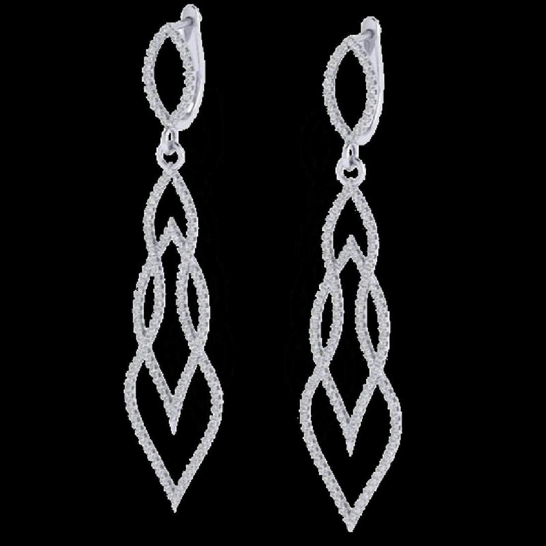 1.90 CTW Micro Pave VS/SI Diamond Earrings 14K White