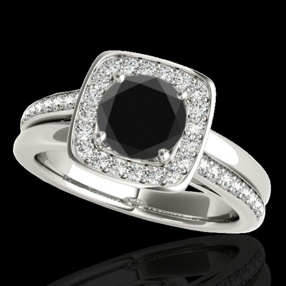 1.33 CTW Certified VS Black Diamond Solitaire Halo Ring