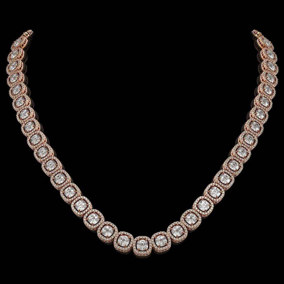 32.64 CTW Cushion Diamond Designer Necklace 18K Rose