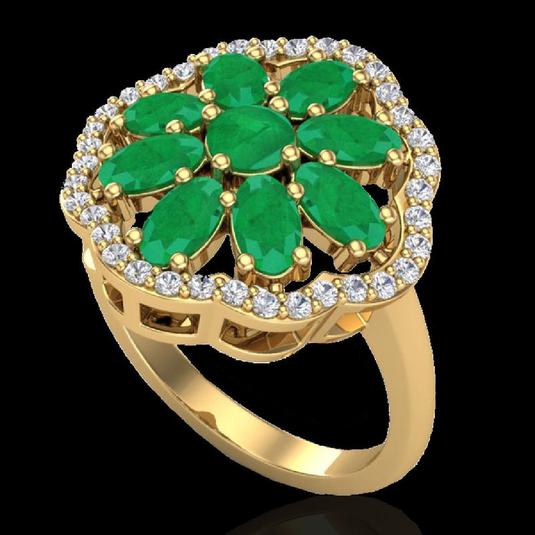 4 CTW Emerald & VS/SI Diamond Cluster Designer Halo