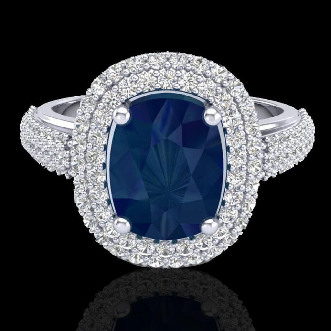 3.50 CTW Sapphire & Micro Pave VS/SI Diamond Halo Ring