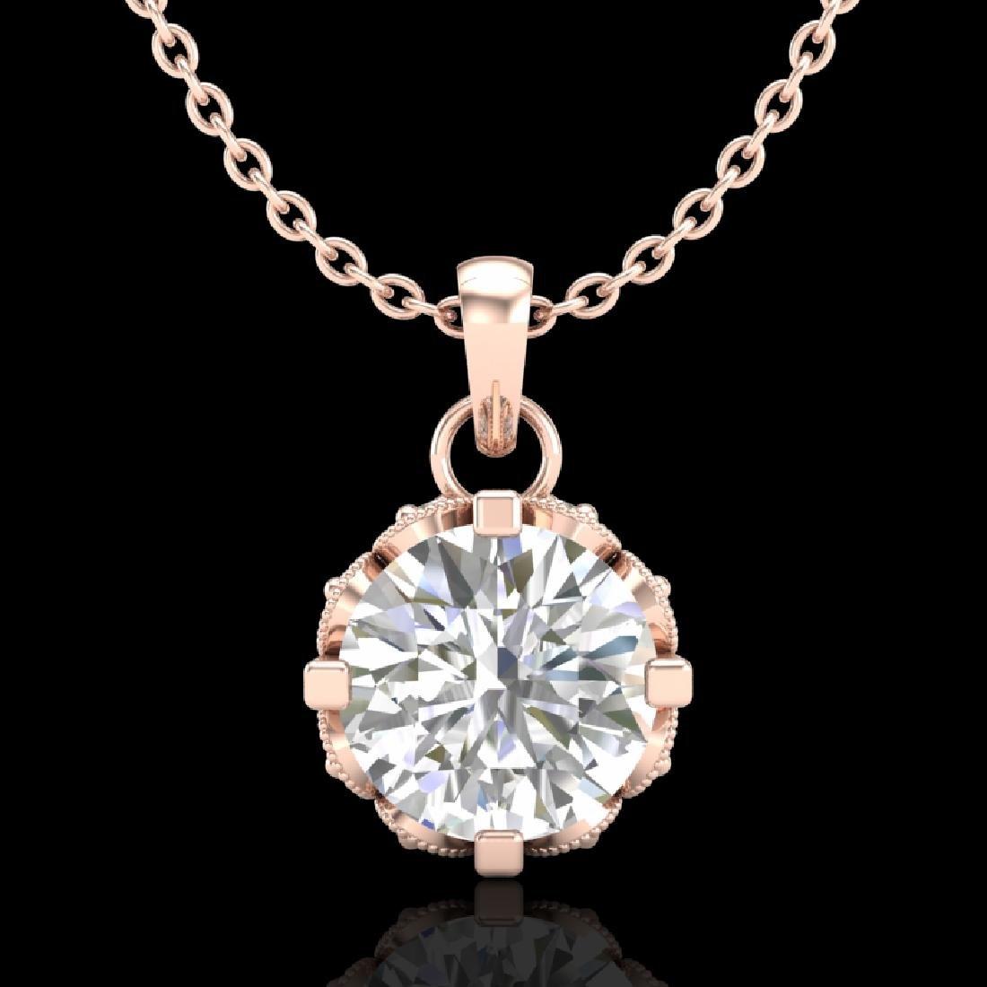 0.85 CTW VS/SI Diamond Solitaire Art Deco Stud Necklace