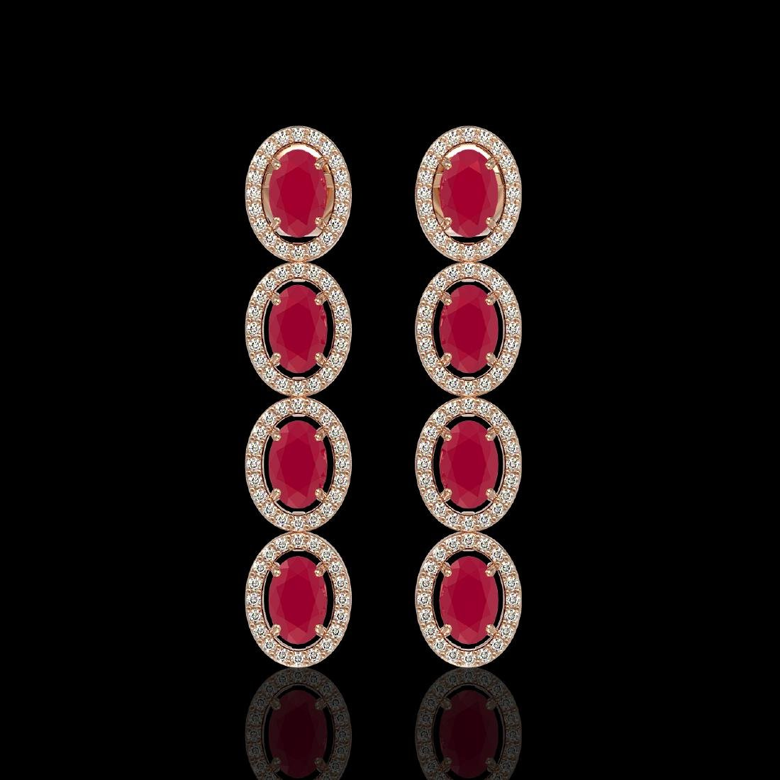 6.47 CTW Ruby & Diamond Halo Earrings 10K Rose Gold