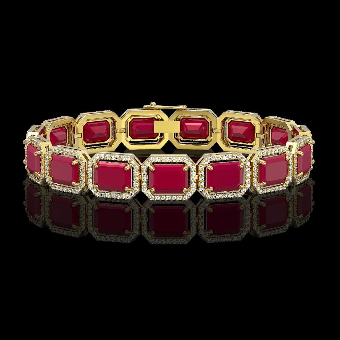 38.61 CTW Ruby & Diamond Halo Bracelet 10K Yellow Gold