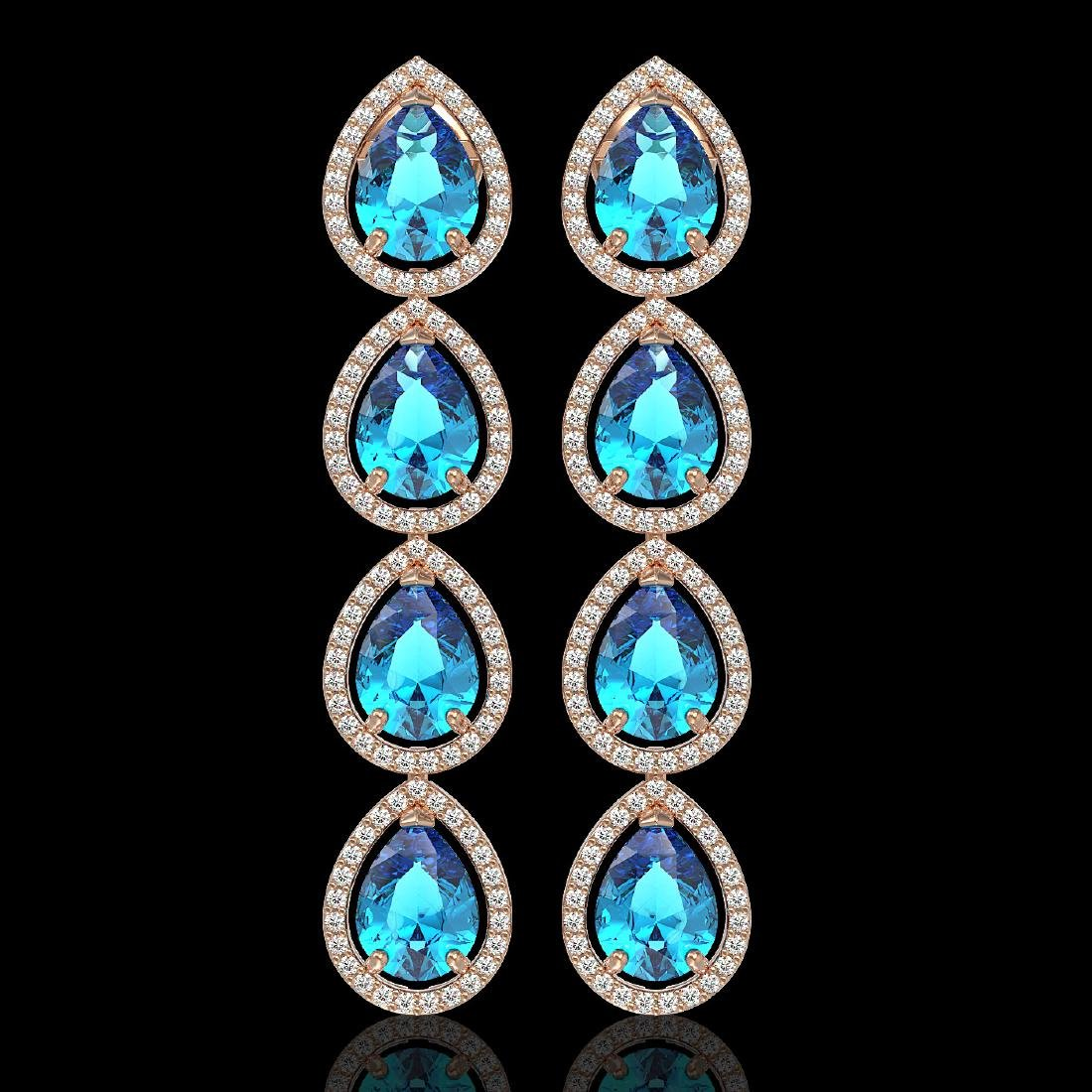 10.8 CTW Swiss Topaz & Diamond Halo Earrings 10K Rose