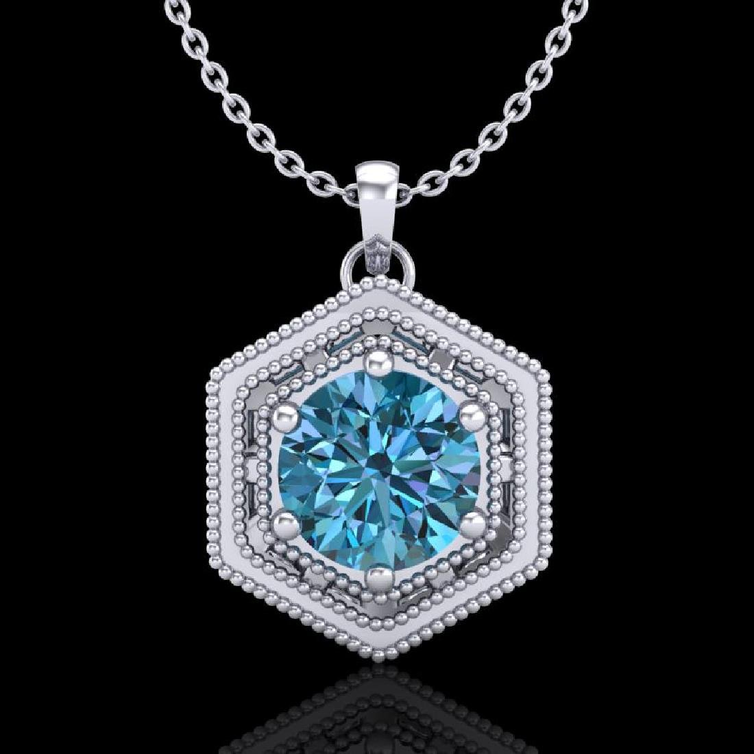 0.76 CTW Fancy Intense Blue Diamond Solitaire Art Deco