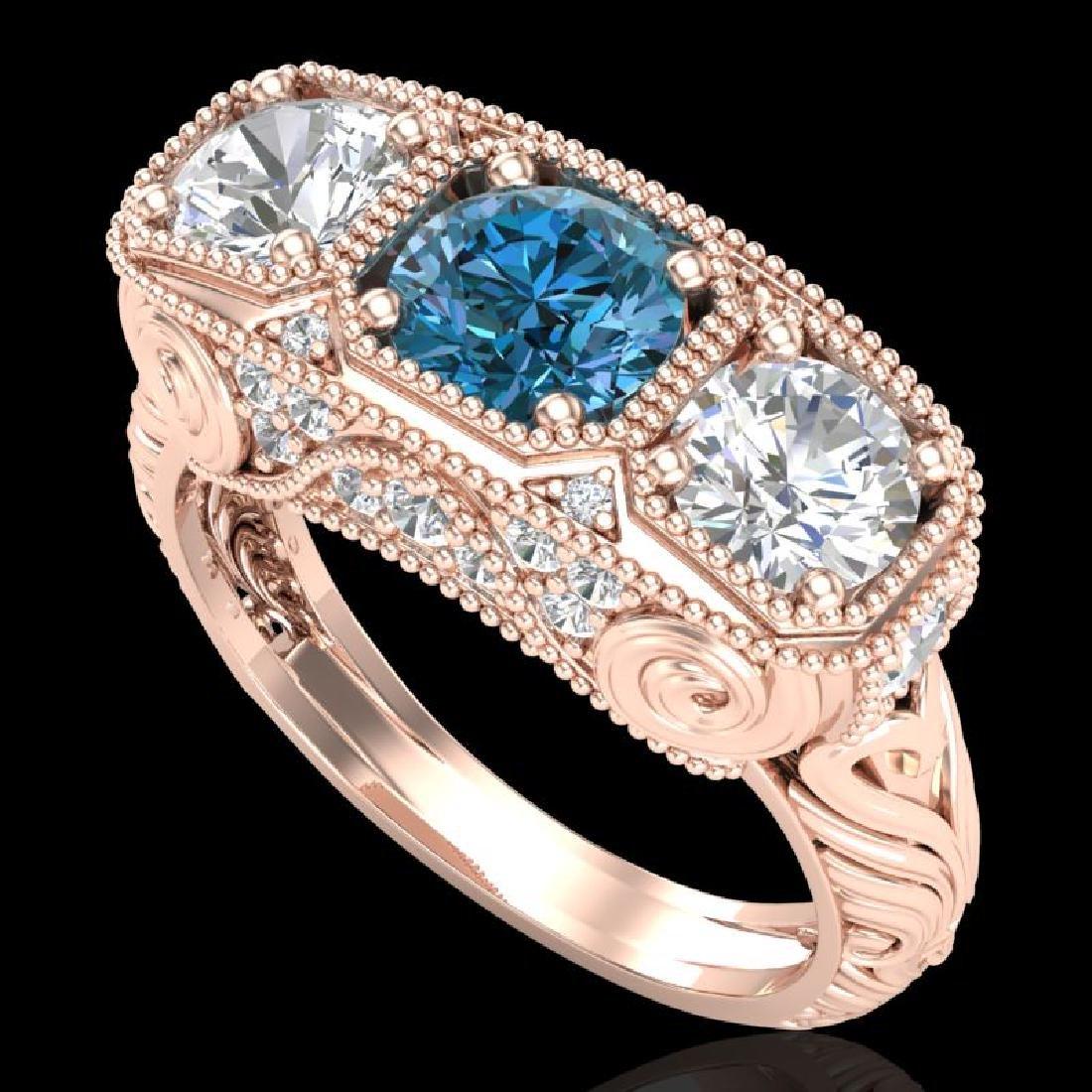 2.51 CTW Intense Blue Diamond Solitaire Art Deco 3