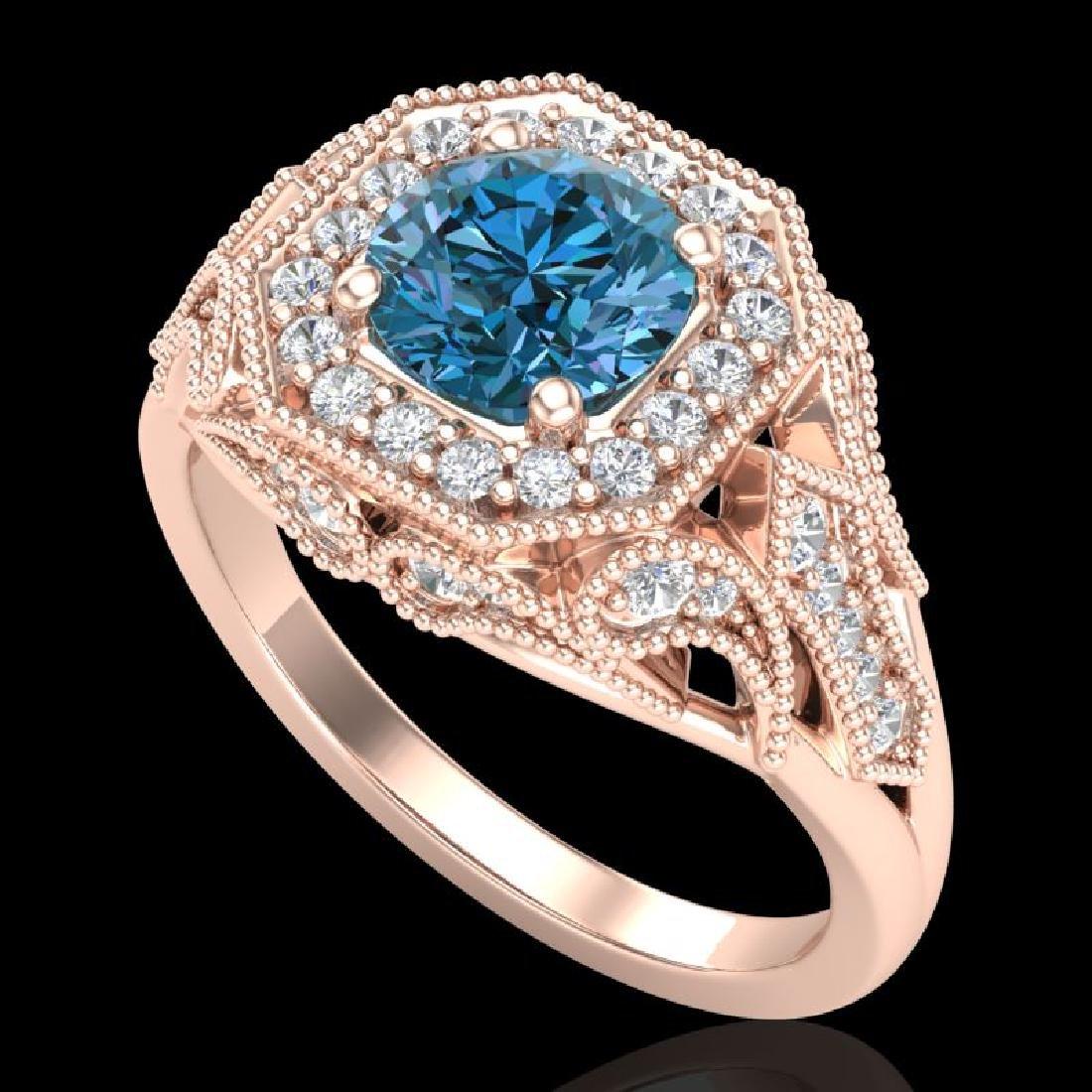1.75 CTW Fancy Intense Blue Diamond Solitaire Art Deco
