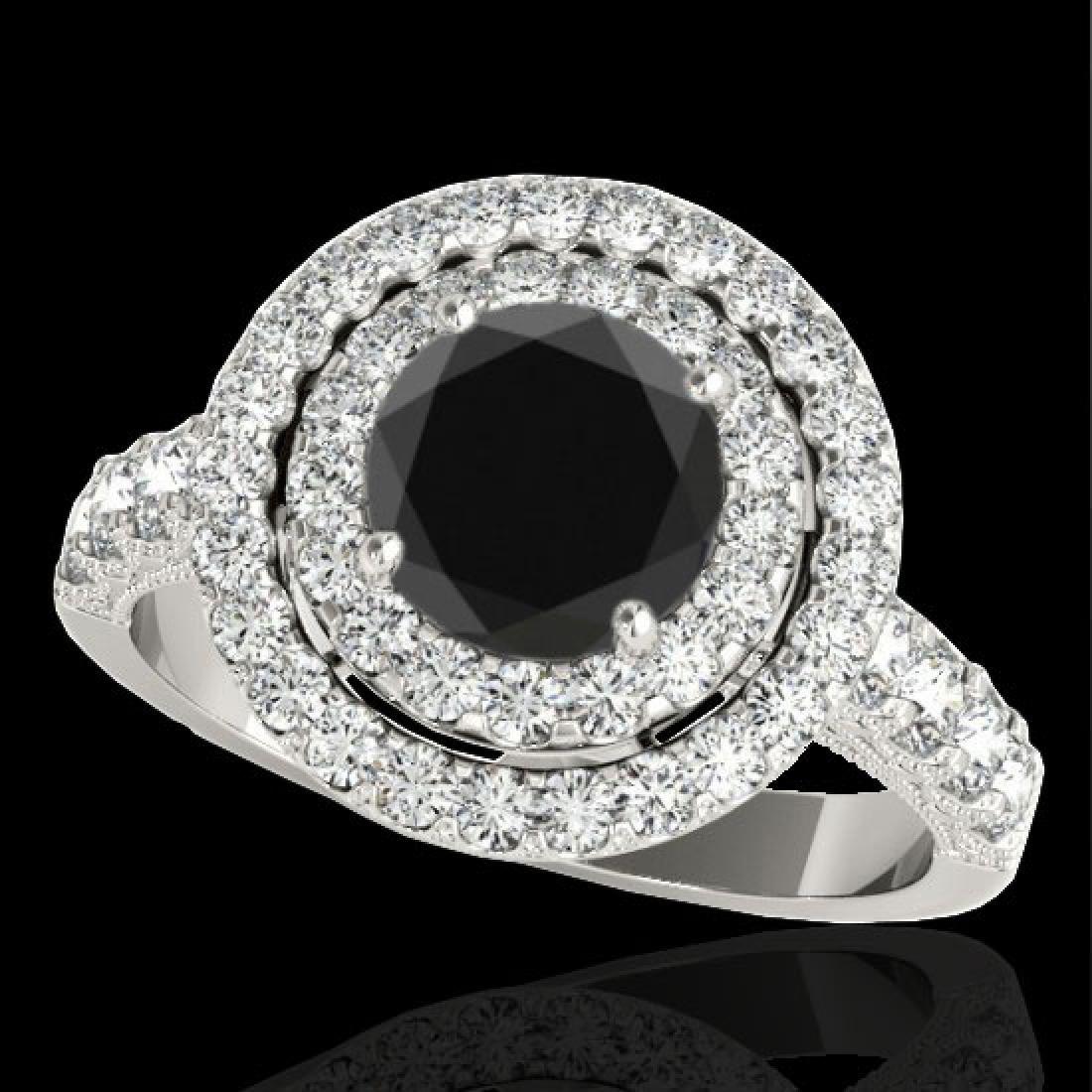 3 CTW Certified VS Black Diamond Solitaire Halo Ring
