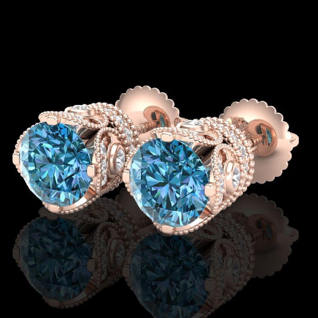 3 CTW Fancy Intense Blue Diamond Solitaire Art Deco