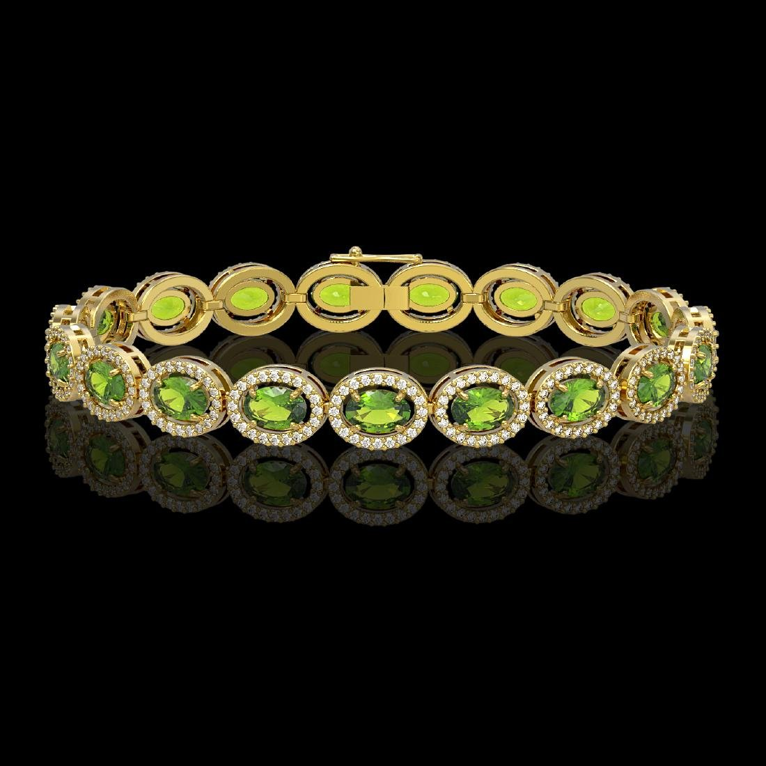 13.87 CTW Peridot & Diamond Halo Bracelet 10K Yellow