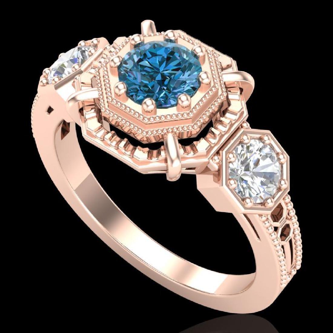1.01 CTW Fancy Intense Blue Diamond Art Deco 3 Stone