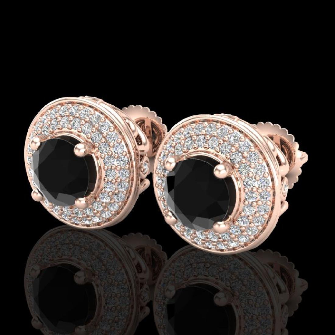 2.35 CTW Fancy Black Diamond Solitaire Art Deco Stud