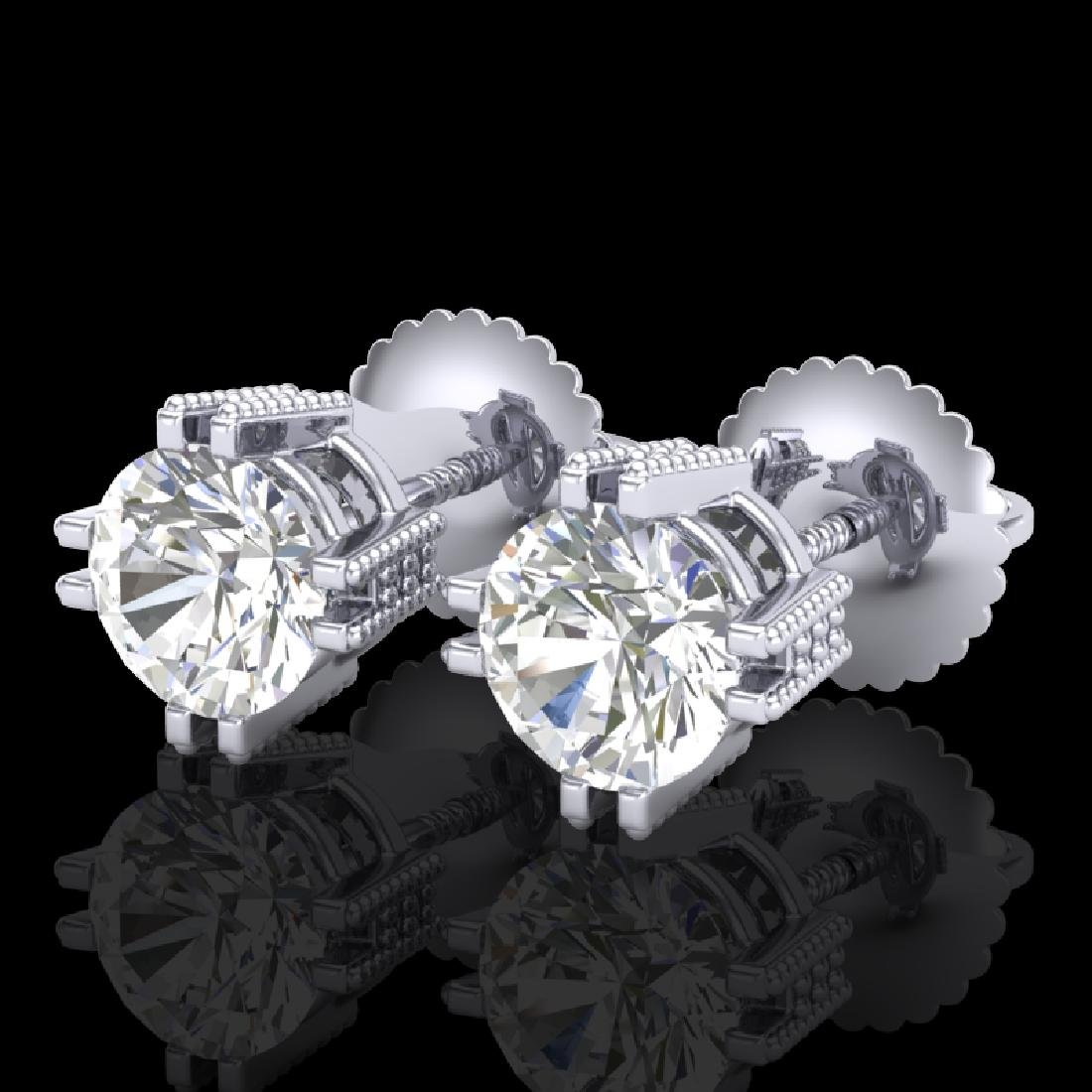 1.07 CTW VS/SI Diamond Solitaire Art Deco Stud Earrings