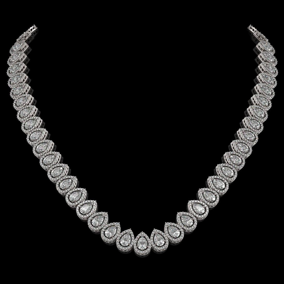 34.83 CTW Pear Diamond Designer Necklace 18K White Gold