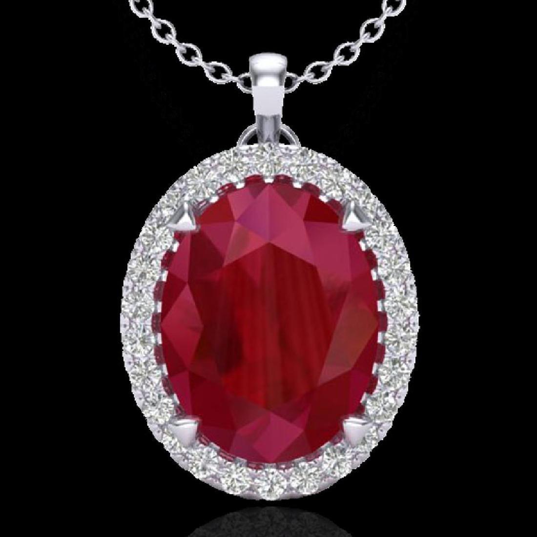 2.75 CTW Ruby & Micro VS/SI Diamond Halo Necklace 18K